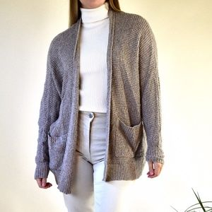 Beige Knit Oversized Cardigan with Pockets
